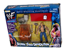 WWF WWE STONE COLD DEMOLITION WITH GRAPPLE GEAR BREAK AWAY TABLE SLEDGE HAMMER