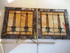 "PAIR (2) Antique Art Deco Orange Tulip Stained Slag Glass Lead Window Panels 24"""
