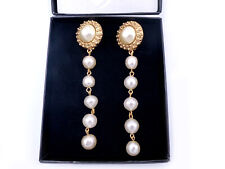 Vintage CHANEL Yellow Gold-Plated Pearl Dangle / Drop Earrings