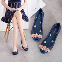 Women Summer Flower Pull On Jelly Peep Toe Decor Flats Heel Casual Pumps Shoes