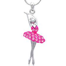 Hot Pink Dancing Ballerina Dancer Ballet Dance Pendant Necklace Chain Charm b1