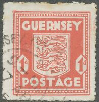 "GB GUERNSEY 1941, 1 d. Arms of Guernsey VFU scarlet, VARIETY: red dots in ""NS"""