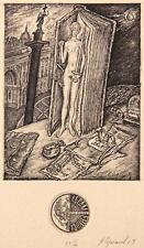 JUSTICE Original etching by Leonid STROGANOV, Russian Ex Libris Artist genre