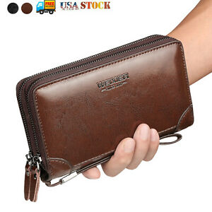 Mens Long Wallet Leather Zipper Business Clutch Bag Phone Card Holder Handbag