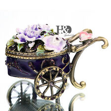 Handmade Crystal Metal Float Trinket Boxes Figurines Jewelry Wedding Xmas Decor