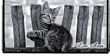 CHECKBOOK COVER  KITTEN ON A FENCE