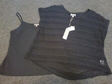 Black Silky Tank & Lace Over Tee Sz 14 NEW