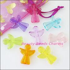 12Pcs Mixed Plastic Acrylic Clear Angel Charms Pendants 19x23.5mm