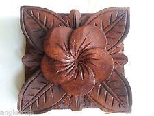 Bali Frangipani Hard Wood Carved Wall Hanging Decor Art Balinese Carving 10cm