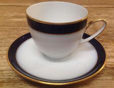 Hutschenreuther Kobalt Cobalt Blue Olivia 4737 Wht Gold Tea Cup Saucer Set Flat