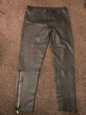 River Island Black Stretch Faux Leather Leggings/trousers Uk 16 R