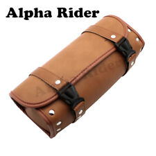 Motorcycle Tool Bag Brown PU Luggage Handle Bar Round Barrel Storage Pouch
