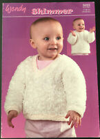 KNITTING PATTERN Baby Fluffy Jumper V Neck Round Neck Jumper Wendy Shimmer 5023