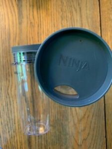 2 Genuine Ninja Single Serve Cups with Lids, Clear, 16-Ounce Replacement