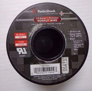 RadioShack 20ft 12-Gauge Stranded Hookup Wire 600V Black 278-0566  -27