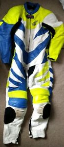 Akito Motor Riding One-Piece Suit Size 44 White, Blue And Fluorescent Yellow