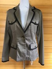 💋Witchery 10 Warm Grey Black Jacket Military Cotton Blend