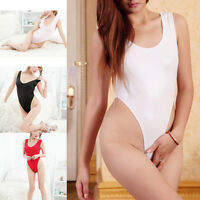 Women's Sexy One-piece Swimwear High Cut Leotard Thong Sheer Bodysuit Lingerie
