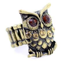 Ajustable Búho De Bronce Estilo Vintage estiramiento anillo con Cristal