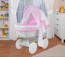 WALDIN Baby Bollerwagen,Stubenwagen,komplett mit Zubehör,Stoffe Weiß/Rosa