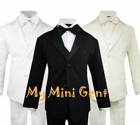 My Mini Gent Boys 5PC Classic Fit Formal Tuxedo Suit Set No Tail Bow Tie
