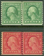 Edw1949Sell : Usa 1915 Scott #452, 455 Coil Line pairs. Mint Og. Catalog $122.00