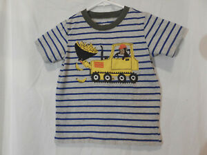 Carters SS Boys Graphic T-Shirt Size 3T Monkey & Tractor Blue Stripe 100% Cotton