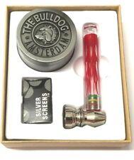 AMSTERDAM THE BULLDOG METAL GRINDER 3 PART WEEDS CRUSHER RED GLASS SMOKING PIPE