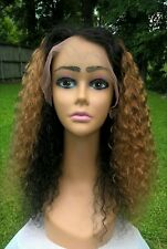 """20"""" 7A #1/#30 Ombre Brazilian Curly 180% Density Pre-Plucked Full Lace Wig"""