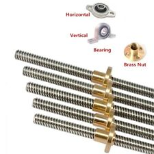 10mm T10x3 Lead Screw Trapezoidal Acme Threaded Rod With Brass Nut 100 550mm