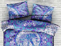 Indian Cotton Elephant Ombre Mandala Print Cushion Sham Pillow Cover Ethnic Boho