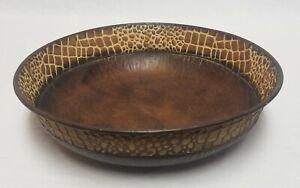 ELEGANT EXPRESSIONS Round CROC PATTERN Decorative Bowl Brown Hosley Intl