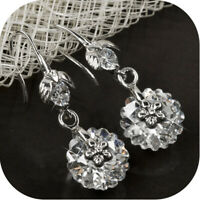18k white gold gp made with Swarovski crystal flower round hook dangle earrings