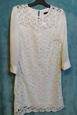 Lace Shift Dress Size 12 Cream White Knee Length 3/4 Sleeve Heart Design Bust