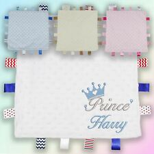 Name Prince Crown Embroidered Baby Dimple Taggy Gift Blanket Personalised Boy