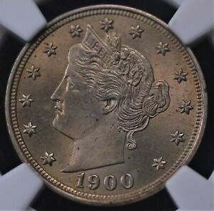 1900 LIBERTY V NICKEL NGC MS 64 LUSTROUS GOLD INFUSED PEWTER UNIMPROVABLE STRIKE