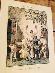 Collectible Antique Print - Hand Coloured Etching of Neapolitan Melon Sellers