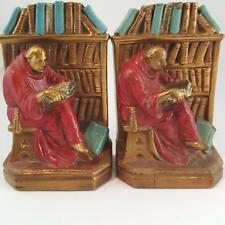 Antique Armor Bronze Company Man Monk Reading Library Bookends 1930s Art Deco