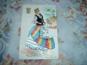 """1953 Vintage Embellished Postcard ELSI GUMIER Artist Signed """"GRAN CANARIA"""" SPAIN"""