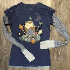 So Wear It Declare It Small Jr Girl's Shirt 100% Cotton Owl Graphic Long Sleeve