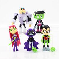 7pcs Teen Titans Go Beast Boy Robin Starfire Raven Cyborg PVC Action Figures Toy