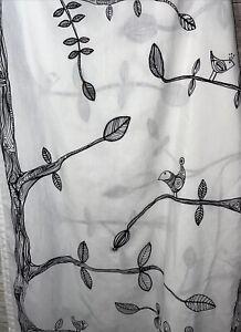 "Ikea EIVOR CURTAINS White Black Bird Tree Whimsical 2 Panels 57"" by 96"""