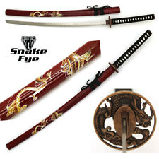 Snake Eye Tactical Red Dragon Designed Wooden Scabbard Samurai Katana Sword