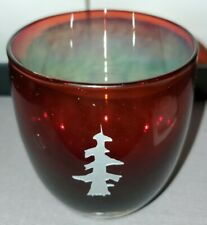 CHRISTMAS GLASSYBABY GOLD SILVER TREE ETCHED VOTIVE CANDLE HOLDER LUSTER INSIDE