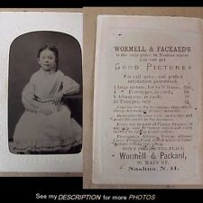 1860-70s Tintype with Photographer's Advertising Wormell & Packard Nashua NH