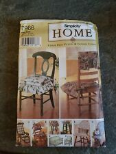 Vintage Simplicity Pattern 7966 One Size Home Chair Pads Futon & Glider Cover #A