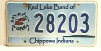MN Red Lake Band Of Chippewa Indian License Plate No.28203 No Tabs Scarce