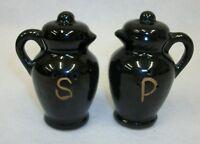 Vintage Redware Pottery Black Pitchers Salt and Pepper Shaker Set