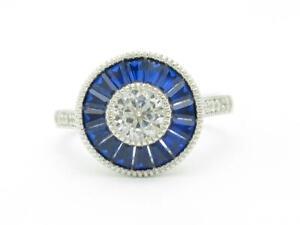 Platinum Sterling Silver Blue & White Sapphire Halo Vintage Design Ring Size 8
