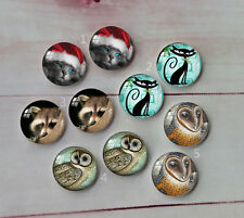 Cat and owl Round Glass Cabochon Dome Flat Back Cover 10PCS 12mm A106